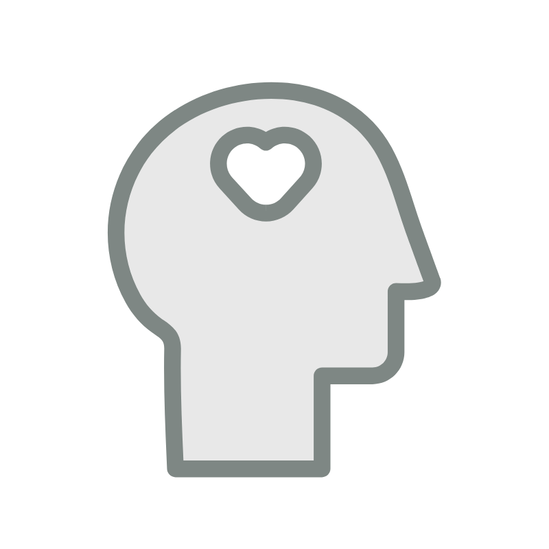 Icon of a brain with a heart inside