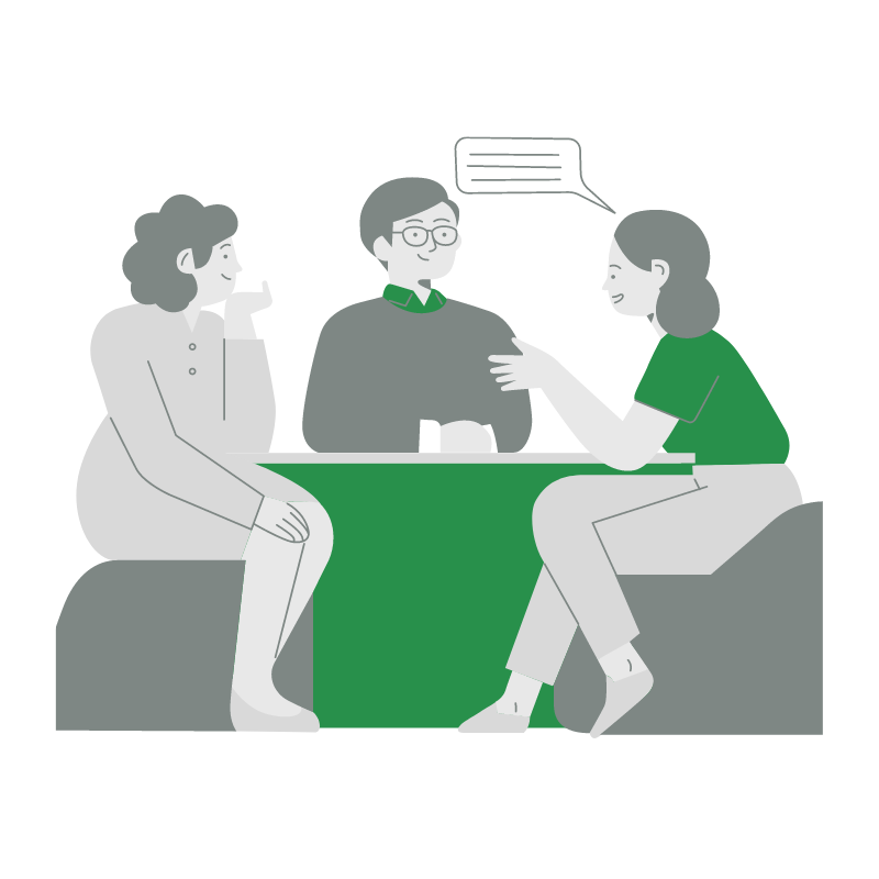 Icon of three people talking at a table