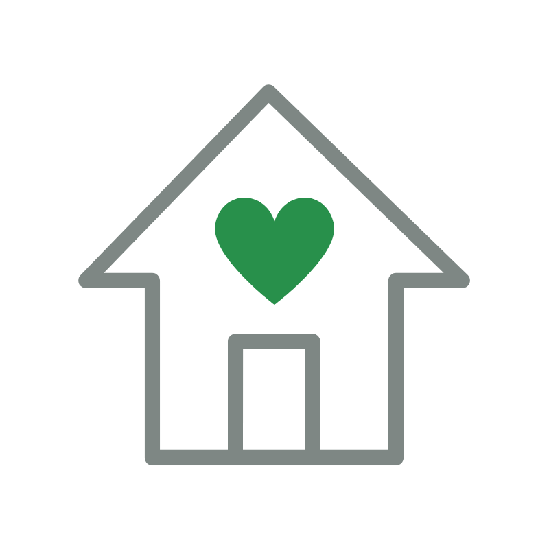 Icon of a house with a heart inside